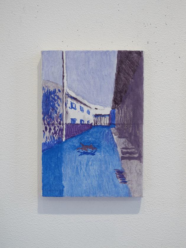 「帰り道d」 サムホール 油彩、キャンバス 2014年